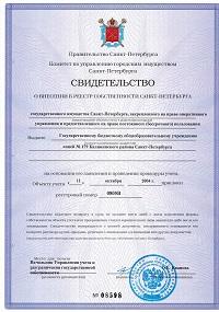 Свидетельство о внесении в Реестр собственности СПб